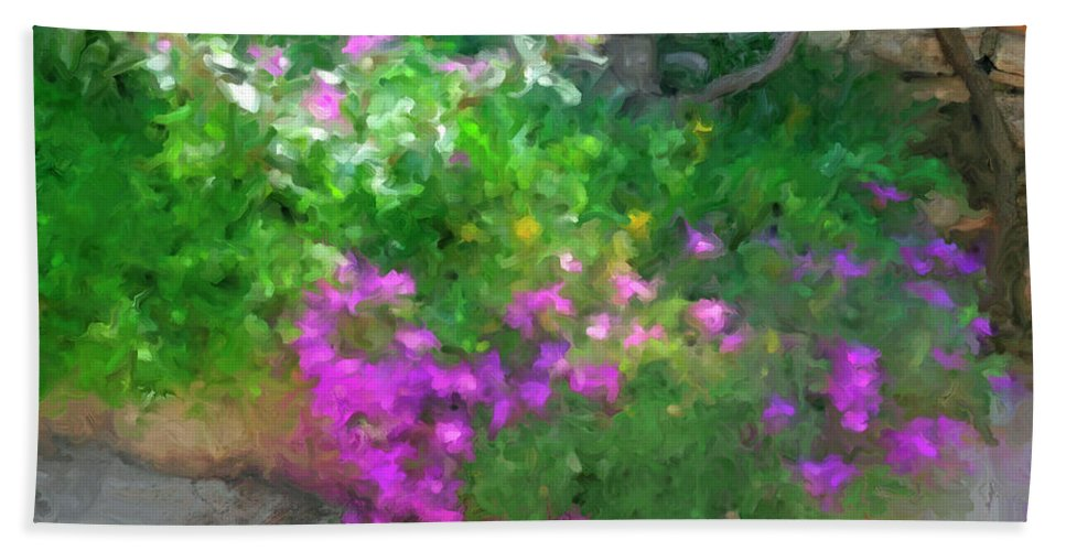 Blooms Bath Sheet featuring the painting Wall Flowers, Croatia by Judy Coggin