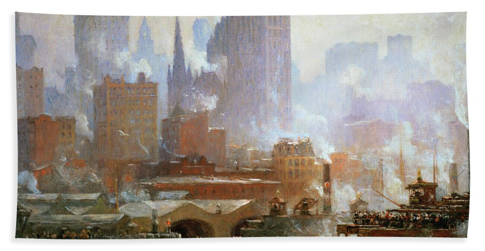 Wall Street Ferry Ship (oil On Canvas) By Colin Campbell Cooper (1856-1937)new York City; Smoke; Cityscape; Urban Landscape; Financial District; Manhattan; Ny Hand Towel featuring the painting Wall Street Ferry Ship by Colin Campbell Cooper