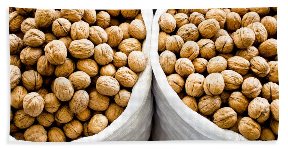 Abstract Bath Sheet featuring the photograph Walnuts by Tom Gowanlock