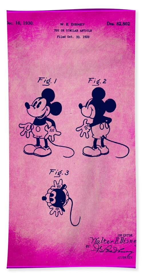 Patent Hand Towel featuring the mixed media Walt Disney Mickey Mouse Toy Patent 2g by Brian Reaves