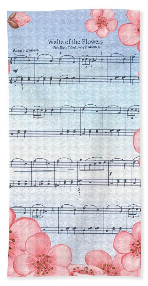 Waltz Hand Towel featuring the painting Waltz Of The Flowers Dancing Pink by Irina Sztukowski