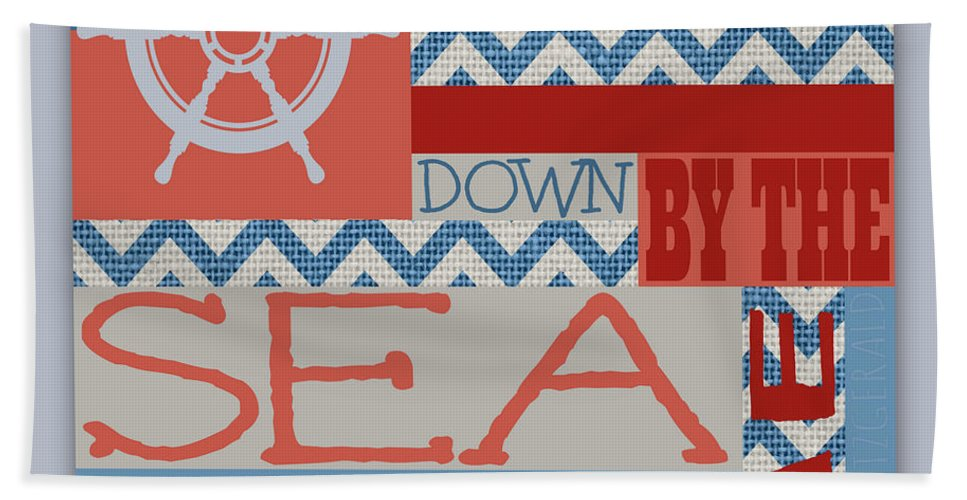 Brandi Fitzgerald Bath Sheet featuring the digital art Wander Down By The Sea by Brandi Fitzgerald