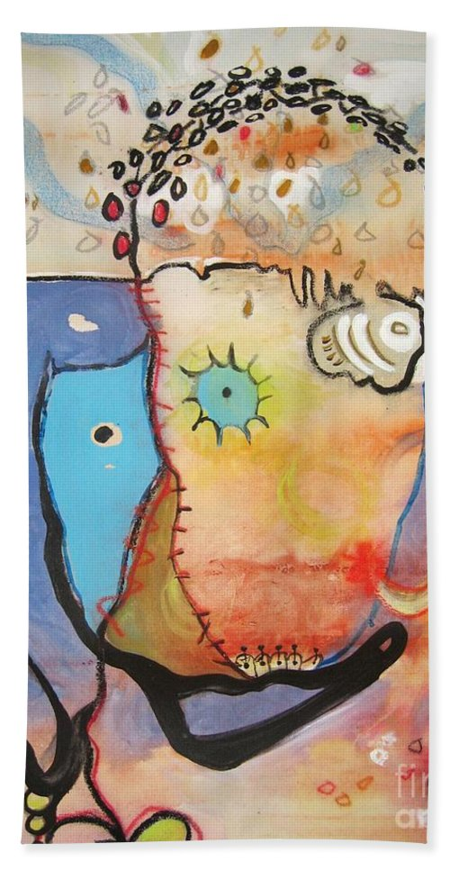 Abstract Paintings Bath Sheet featuring the painting Wandering In Thought by Seon-Jeong Kim