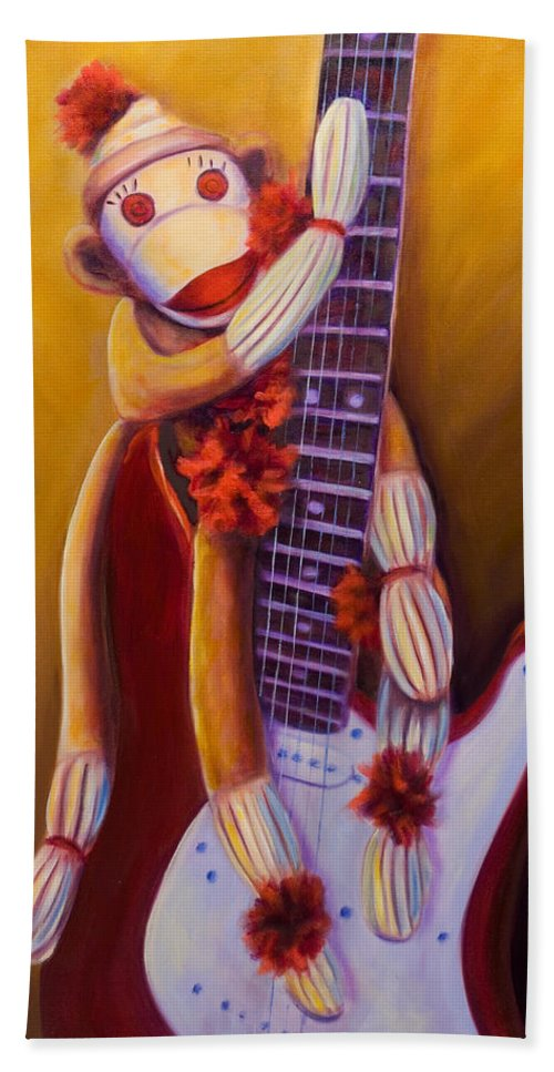 Monkey Bath Towel featuring the painting Wanna Be A Rocker by Shannon Grissom