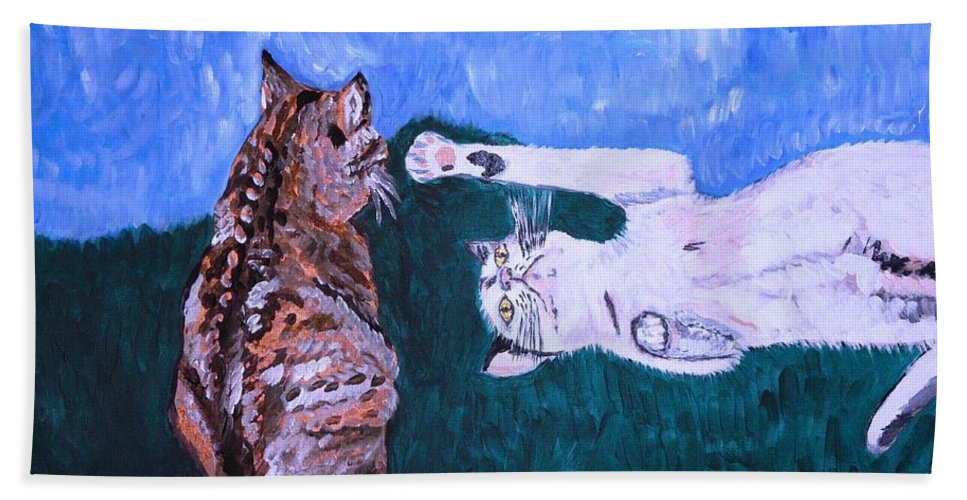 Cat Bath Towel featuring the painting Want To Play by Valerie Ornstein