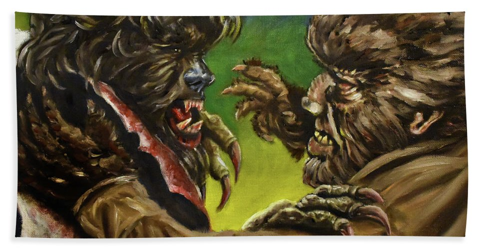 Wolfman Hand Towel featuring the painting War Of The Lupus by Michael Melillo