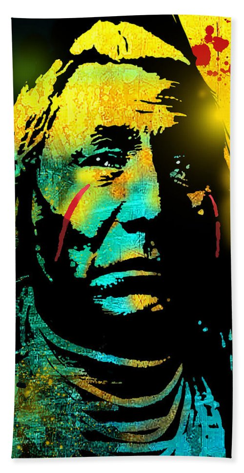 Native Americans Hand Towel featuring the painting War Paint by Paul Sachtleben