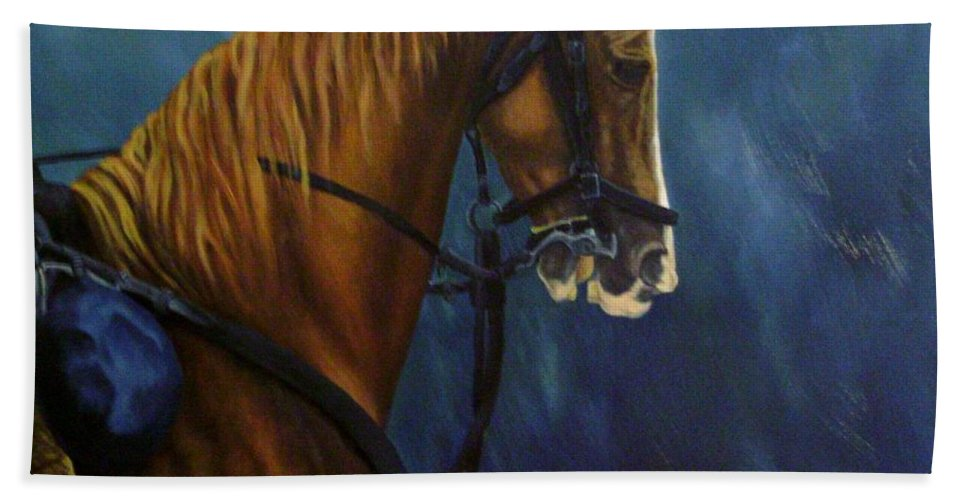 Civil War Bath Sheet featuring the painting Warhorse-us Cavalry by Joann Renner