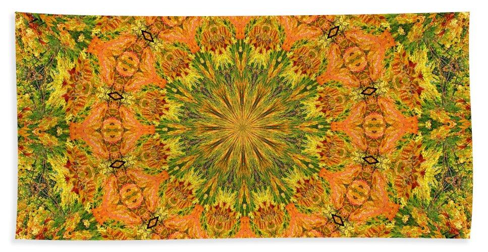 Kaleidoscope Bath Sheet featuring the photograph Warm Burst by Kristin Elmquist