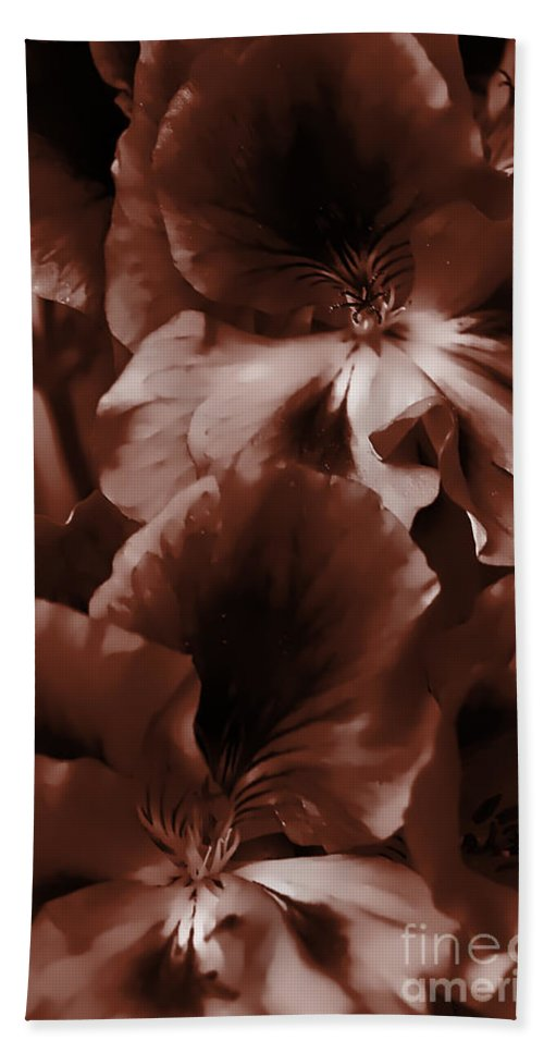 Clay Bath Towel featuring the photograph Warm Tone Monochrome Floral Art by Clayton Bruster