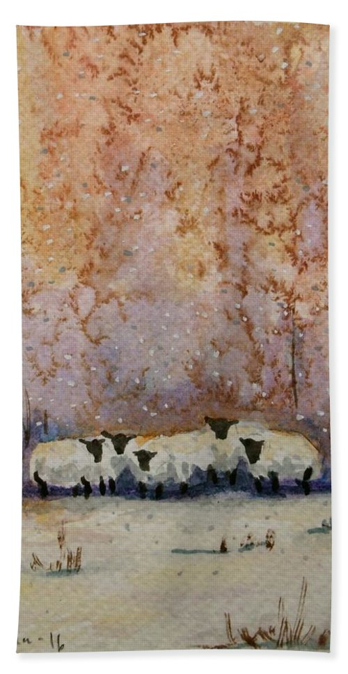 Sheep Hand Towel featuring the painting Warm Winter Sheep by Mona Davis
