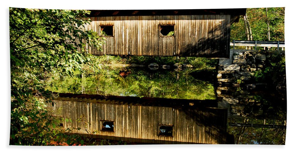 Covered Bridge Bath Sheet featuring the photograph Warner Covered Bridge by Greg Fortier