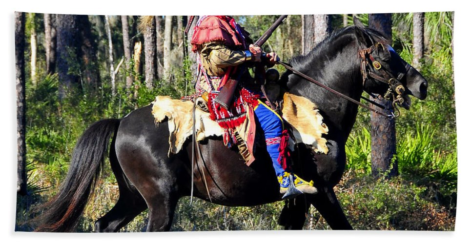Seminole Indian Hand Towel featuring the photograph Warpath by David Lee Thompson
