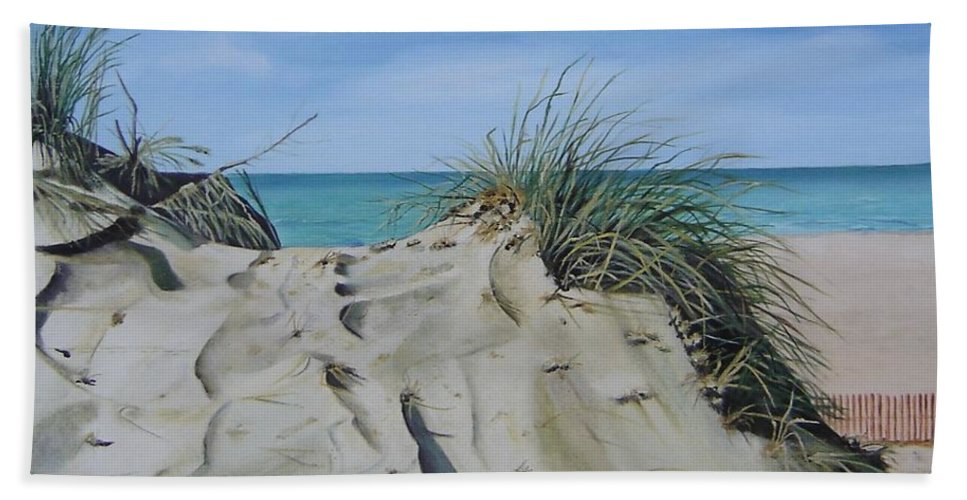 Lake Bath Towel featuring the painting Warren Dunes by Mary Rogers