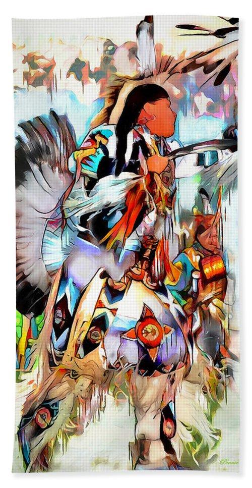 Indian Bath Sheet featuring the digital art Warrior Dance by Pennie McCracken