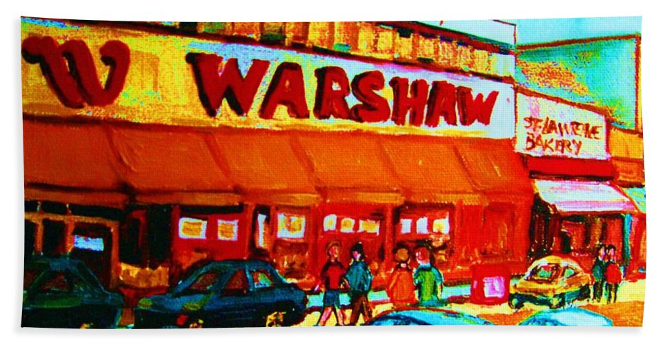 Warshaws Fruit Store Hand Towel featuring the painting Warshaws Fruitstore On Main Street by Carole Spandau