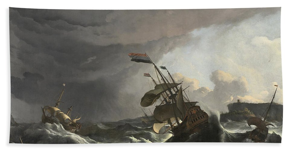 Ludolf Bakhuizen Bath Sheet featuring the painting Warships In A Heavy Storm by Ludolf Bakhuizen