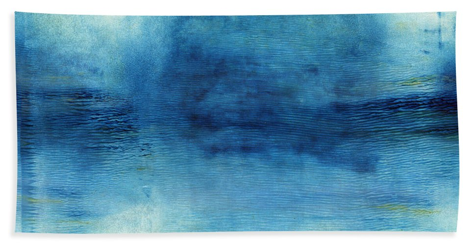 Blue Bath Towel featuring the painting Wash Away- Abstract Art by Linda Woods by Linda Woods