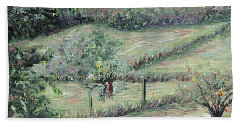 Landscape Bath Towel featuring the painting Washday In Provence by Nadine Rippelmeyer