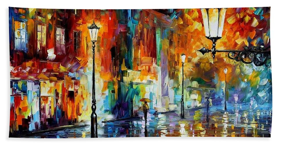 Afremov Bath Sheet featuring the painting Washed City by Leonid Afremov