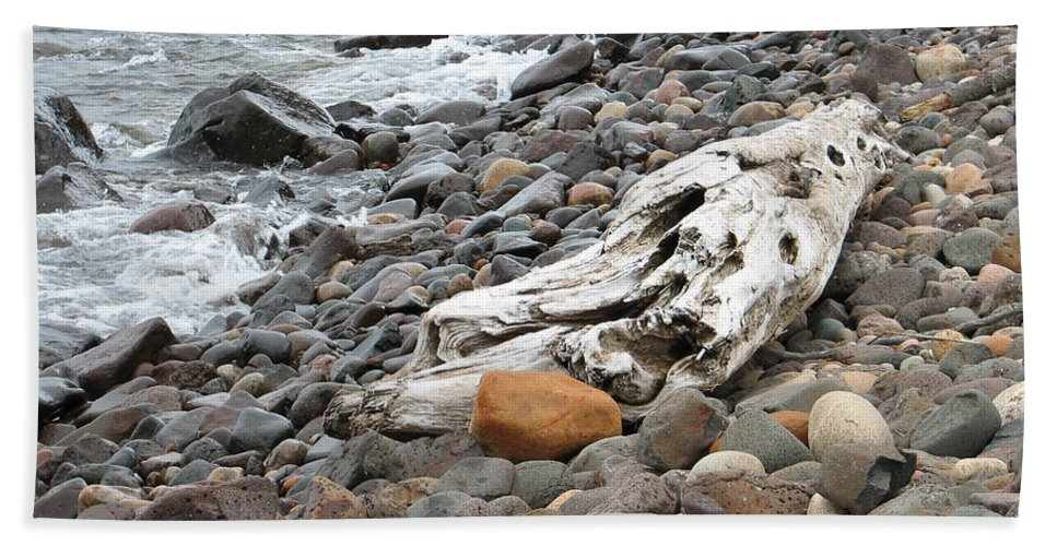 Driftwood Hand Towel featuring the photograph Washed Up by Kelly Mezzapelle