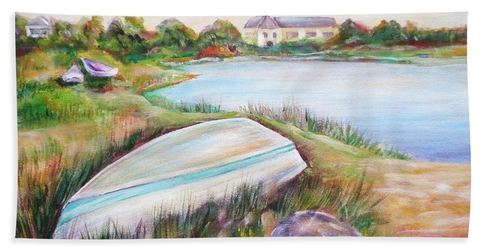 Skiff Bath Sheet featuring the painting Washed Up by Patricia Piffath