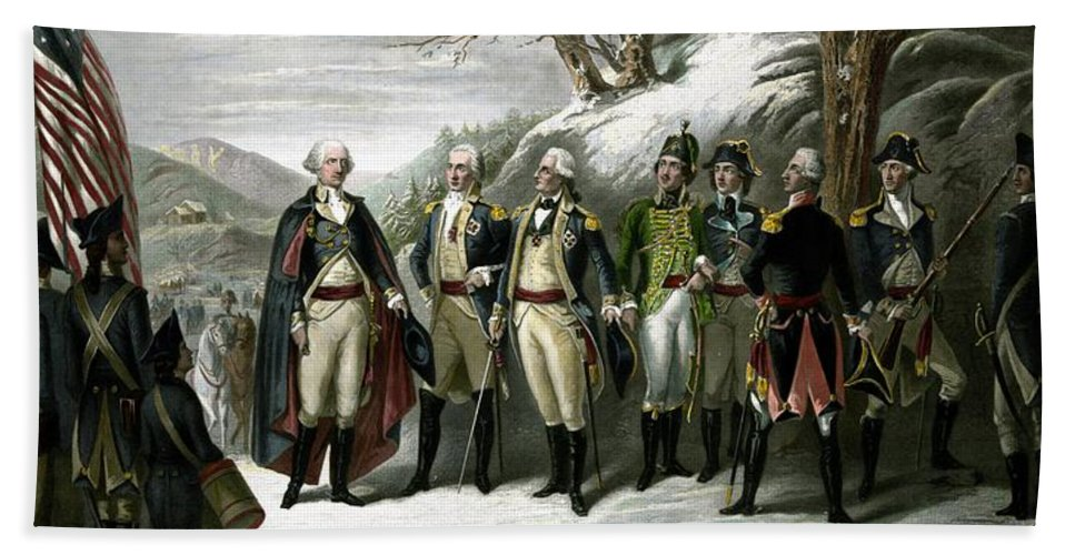 George Washington Bath Towel featuring the painting Washington and His Generals by War Is Hell Store