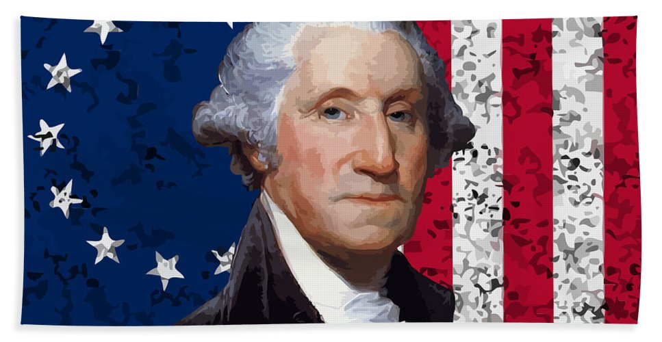 George Washington Hand Towel featuring the painting Washington And The American Flag by War Is Hell Store