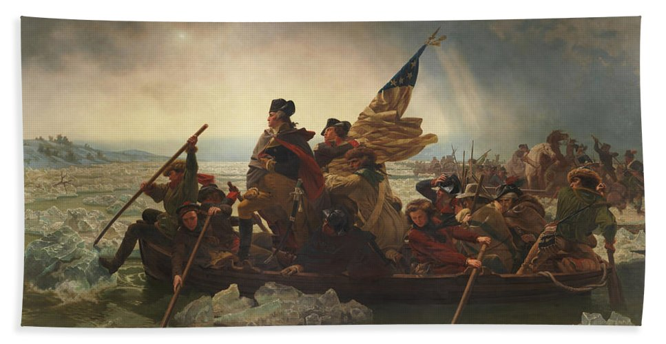 George Washington Hand Towel featuring the painting Washington Crossing The Delaware by War Is Hell Store