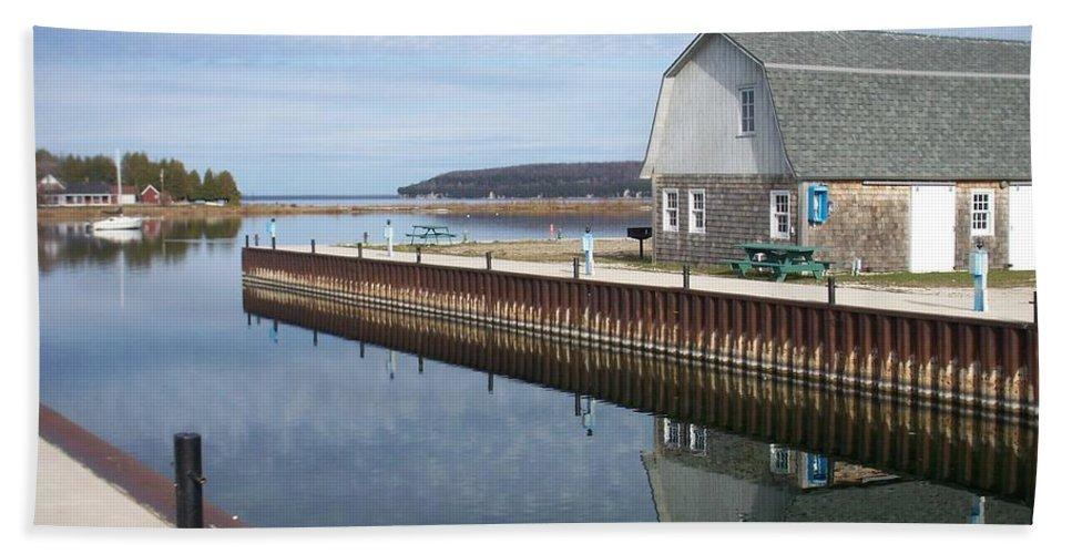 Washington Island Hand Towel featuring the photograph Washington Island Harbor 2 by Anita Burgermeister