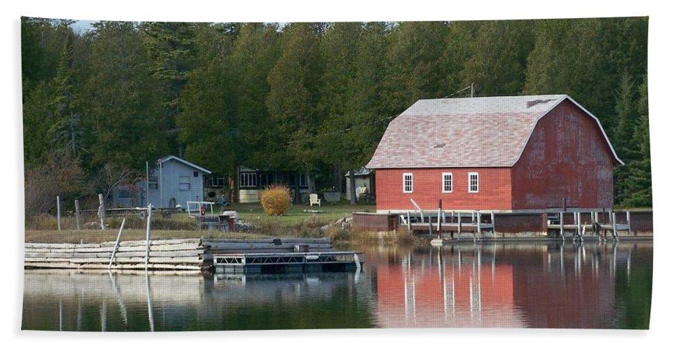 Washington Island Hand Towel featuring the photograph Washington Island Harbor 6 by Anita Burgermeister