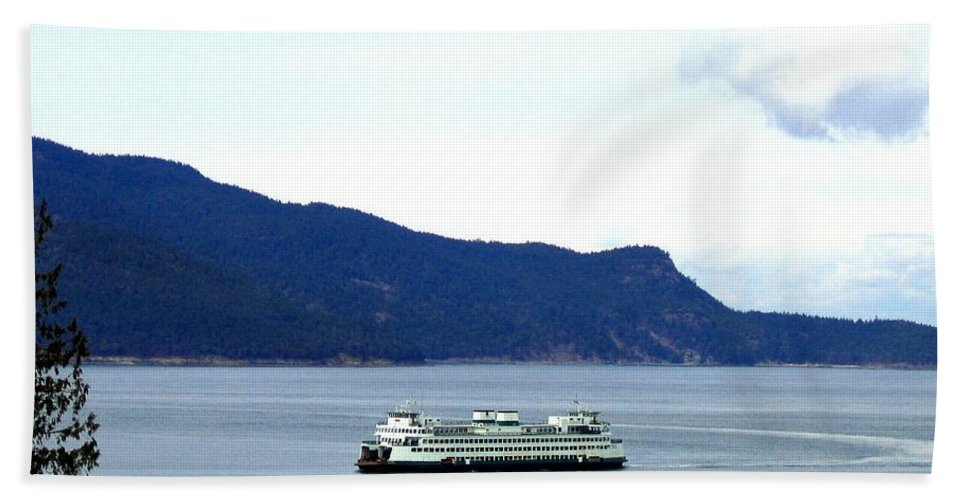 Washington State Ferry Hand Towel featuring the photograph Washington State Ferry by Will Borden