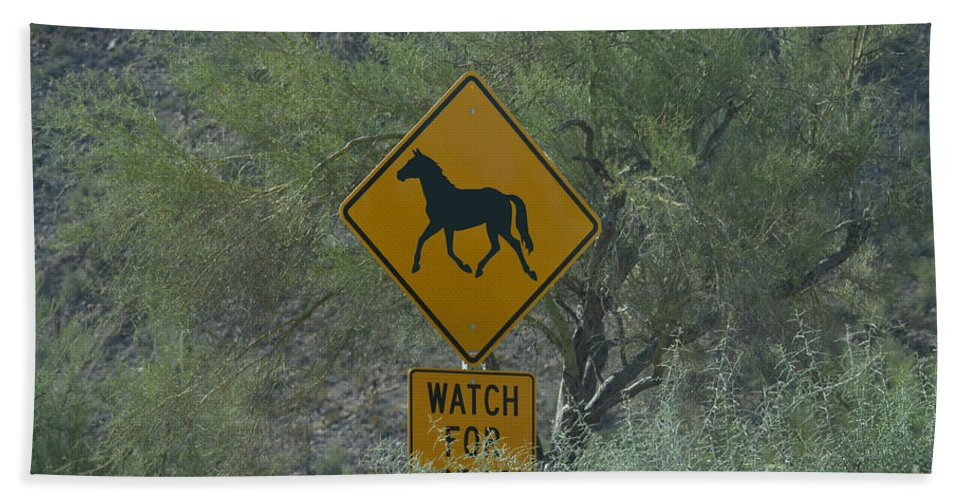 Salt River Hand Towel featuring the photograph Watch For Horses by Heather Kirk