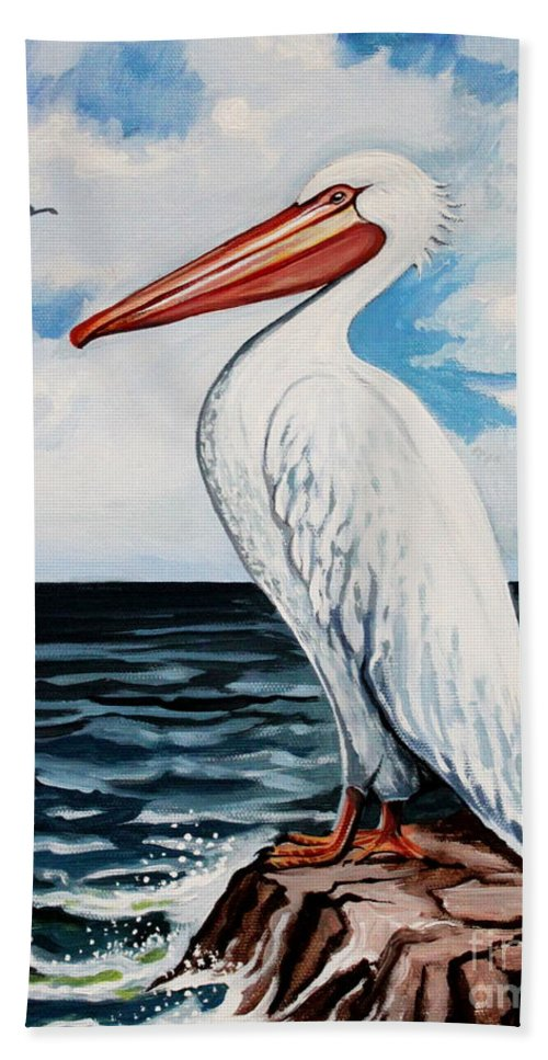 Bird Hand Towel featuring the painting Watcher Of The Sea by Elizabeth Robinette Tyndall
