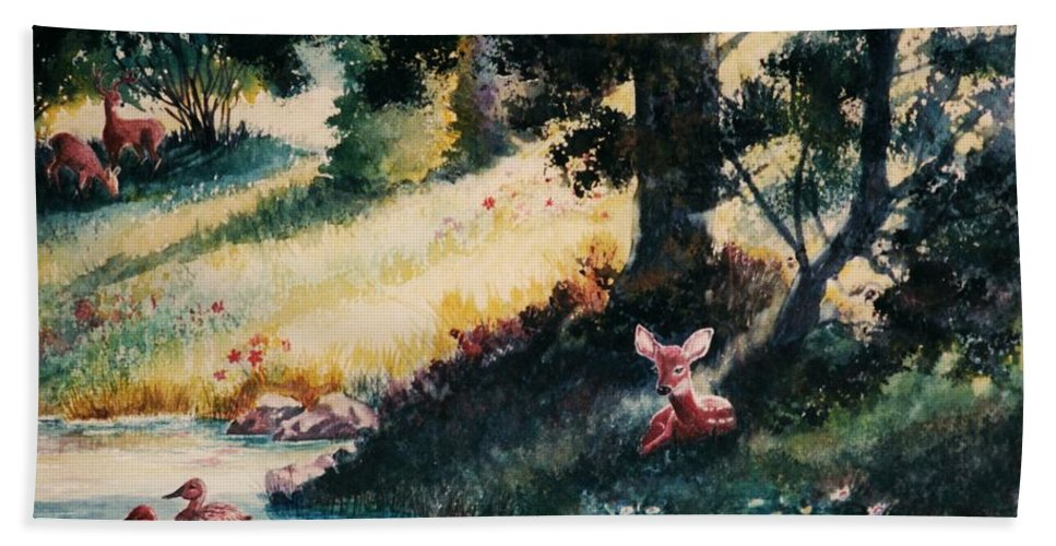 Animals Hand Towel featuring the painting Watchful Eye by Marilyn Smith