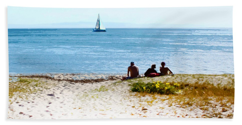 Sailboat Hand Towel featuring the photograph Watching The Boats Pass By by Susan Vineyard