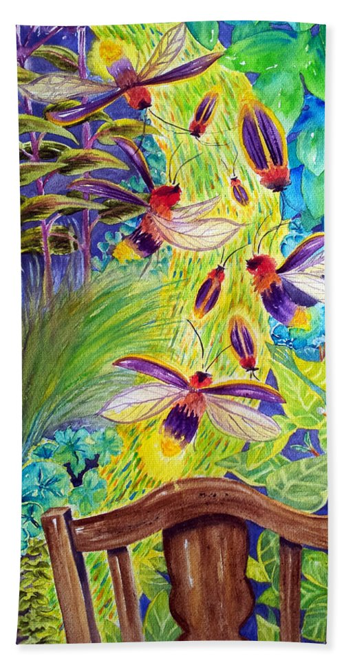 Garden Bath Sheet featuring the painting Watching The Bug Byway By Way Of Back Porch by Kathy Sturr