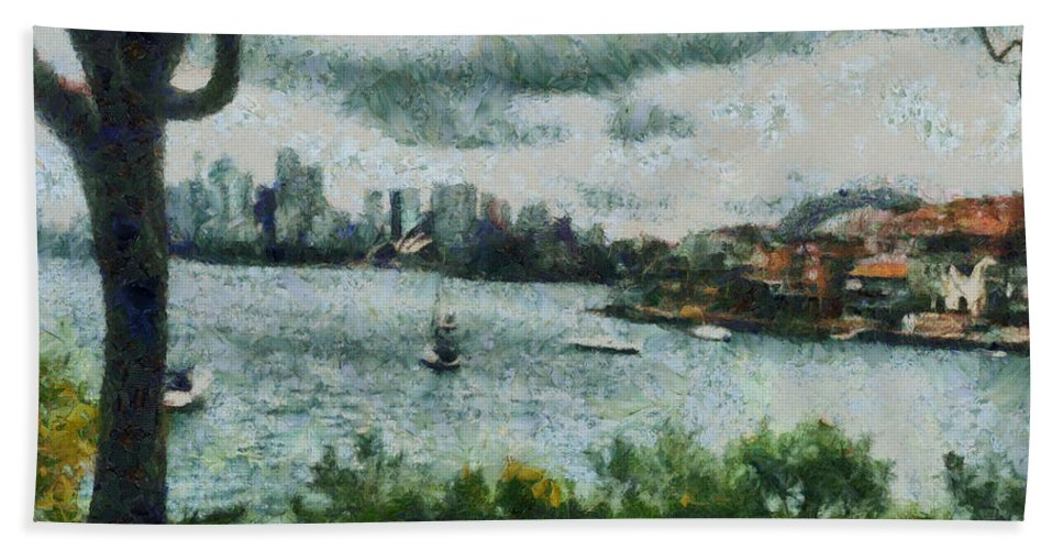 Skyline Hand Towel featuring the photograph Water And Scenery by Ashish Agarwal
