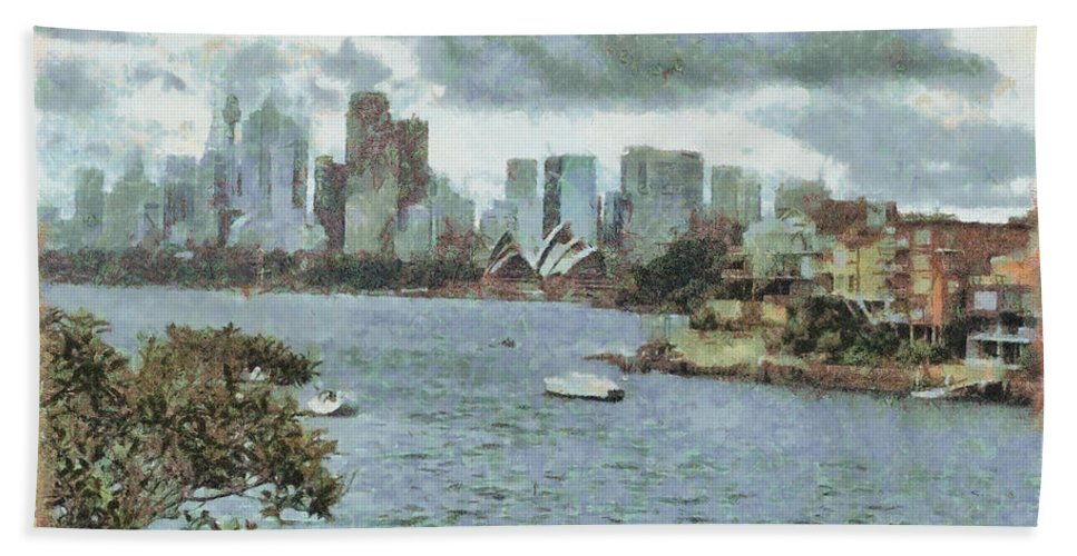 Skyline Hand Towel featuring the photograph Water And Skyline by Ashish Agarwal