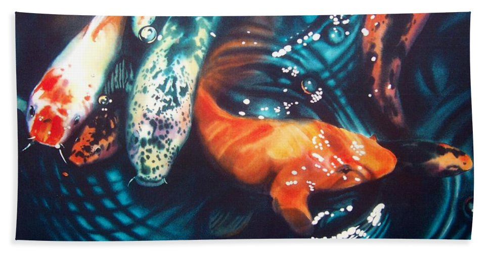 Koi Hand Towel featuring the painting Water Ballet by Denny Bond