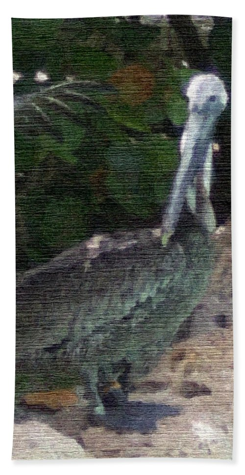 Bird Hand Towel featuring the mixed media Water Bird by Pharris Art
