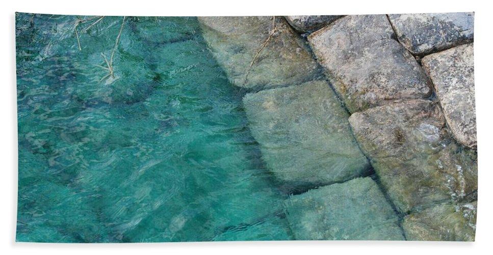 Water Blocks Bricks Hand Towel featuring the photograph Water Blocks by Rob Hans