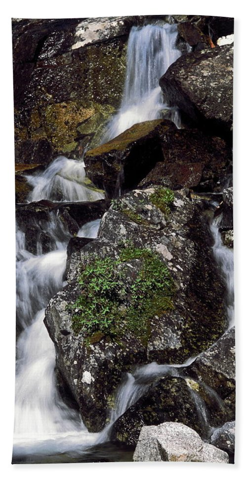 Water Falling Over Rocks Hand Towel featuring the photograph Water Cascading by Sally Weigand
