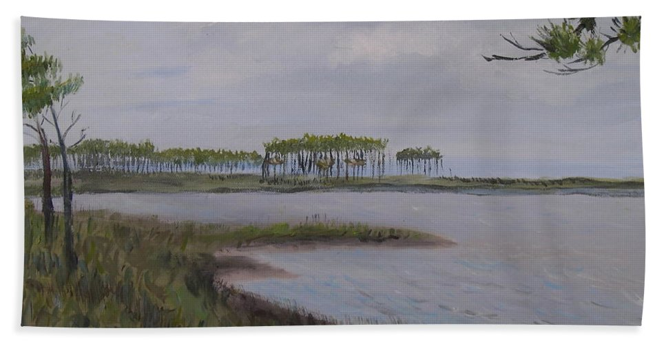 Landscape Beach Coast Tree Water Bath Towel featuring the painting Water Color by Patricia Caldwell