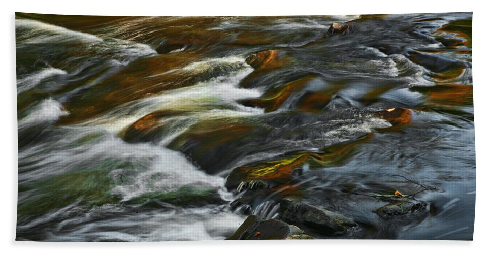Water Rocks Stream Color Photography Photograph Bath Sheet featuring the photograph Water Colors by Shari Jardina