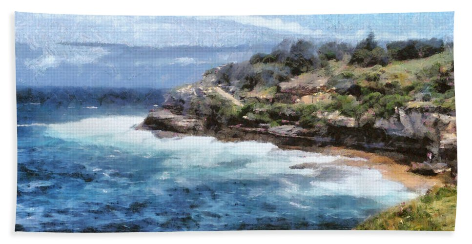 Australia Hand Towel featuring the photograph Water Cove With Rocky Cliffs by Ashish Agarwal