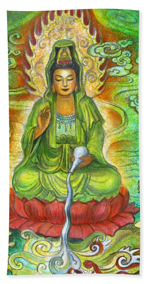 Kuan Yin Bath Towel featuring the painting Water Dragon Kuan Yin by Sue Halstenberg