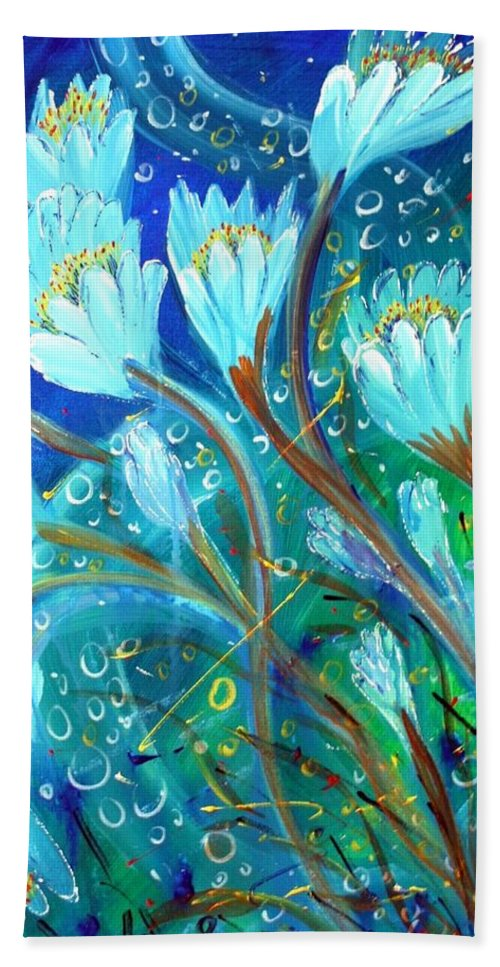 Flowers Hand Towel featuring the painting Water Flowers by Luiza Vizoli