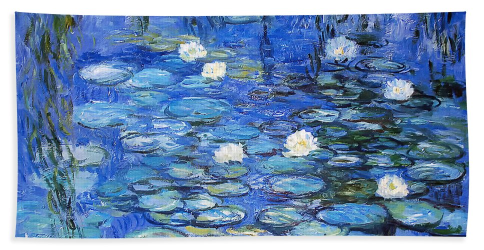 Water Lilies Bath Towel featuring the photograph water lilies a la Monet by Joachim G Pinkawa