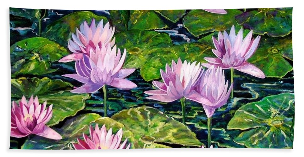 Flowers Bath Sheet featuring the painting Water Lilies by Caroline Street